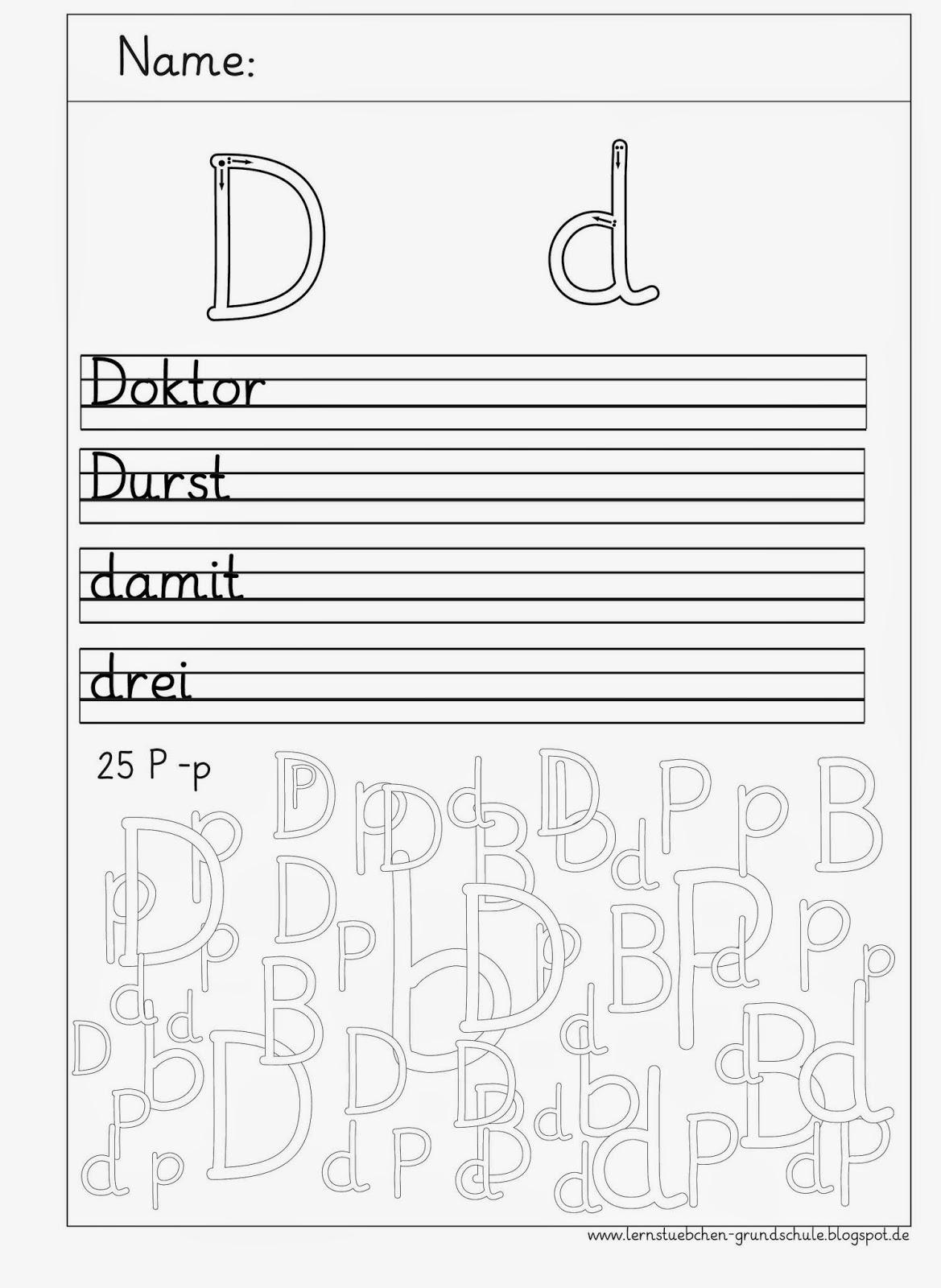 Lernstübchen: D - d Schreibblätter