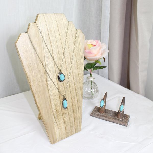 This Wooden Jewelry Display Bust with Easel for 2 Necklaces in Oak is perfect for jewelry photography | NileCorp.com