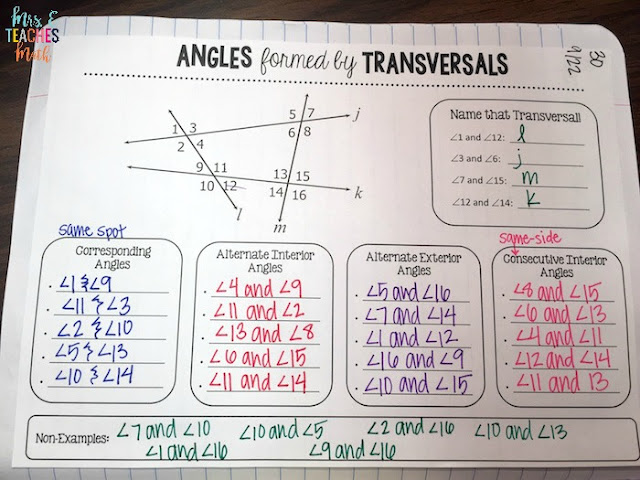 Angles formed by Lines and Transversals graphic organizer for interactive notebooks in geometry