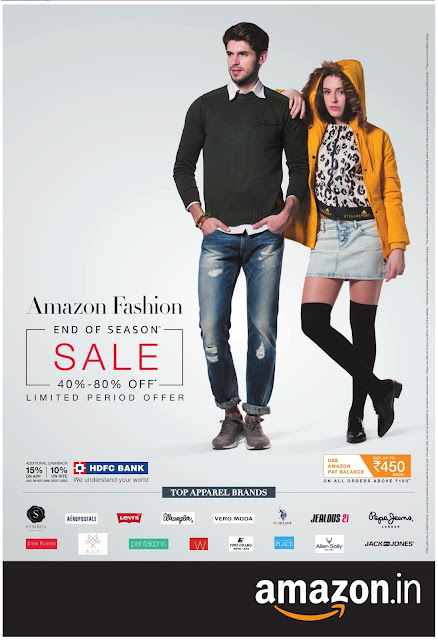 Amazon Fashions- 40 to 80% off | End of season sale | December 2016 Christmas festival discount offers