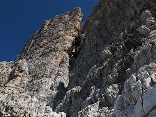 Der große Kamin in der Südwand der Großen Zinne