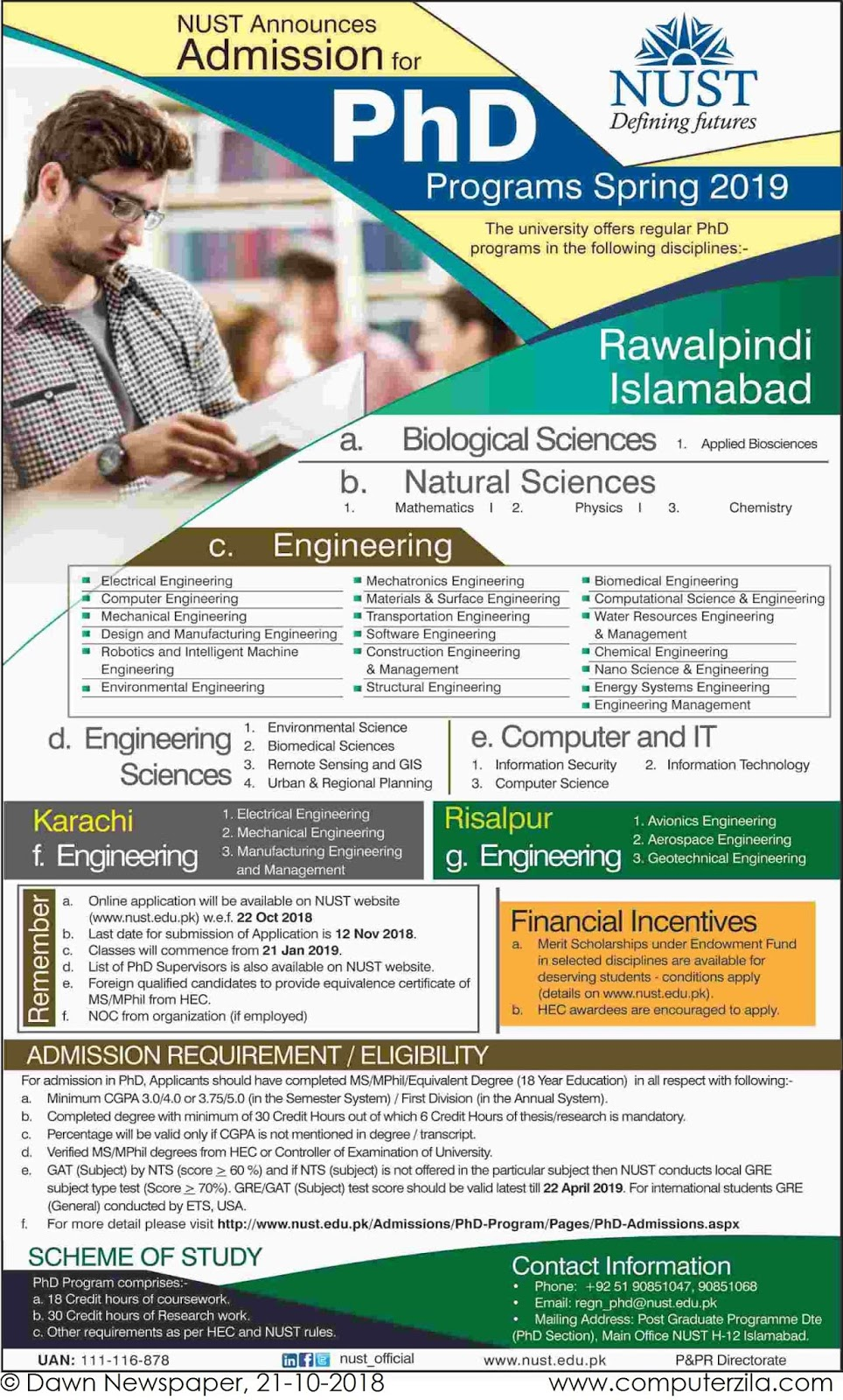 Admissions Open For Spring 2019 At NUST Islamabad Campus