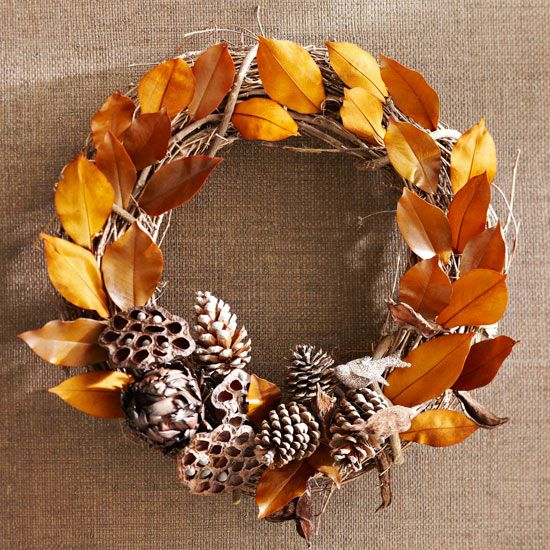 Autumn Wreath Ideas Dry Leaves Orange Tap