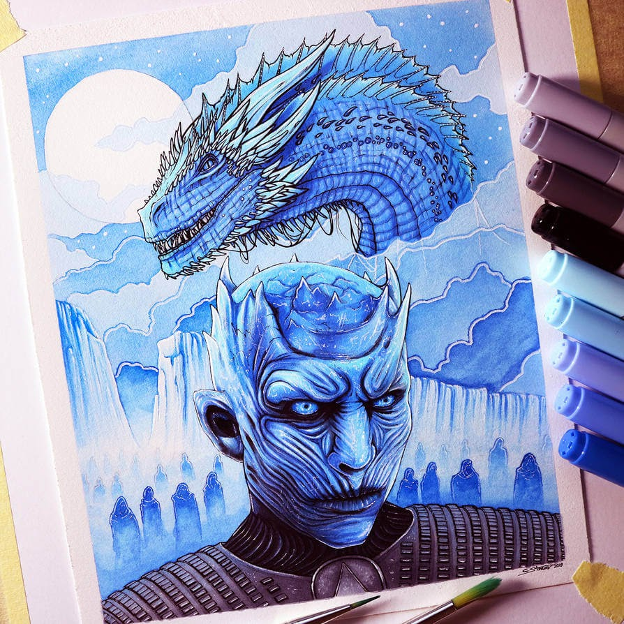 01-Night-King-and-Viserion-GoT-C-Straver-Fantasy-Movie-Characters-Drawings-www-designstack-co