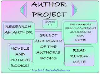 photo of Author project free pdf picture books, student worksheet, research an author, genre, facts, author's life