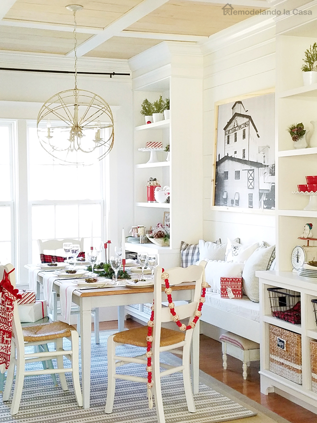 a plain dining room is transformed with a rustic planked ceiling, built-ins and lots of great accesories.
