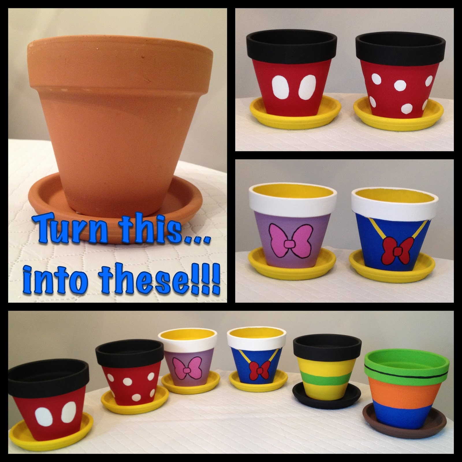 My disney life diy project painted flowerpots for Pot painting materials required