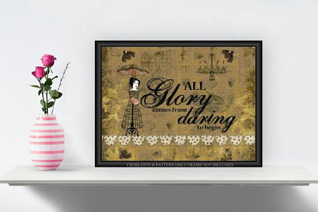 Printable Cross Stitch Altered Art Pattern All Glory 014