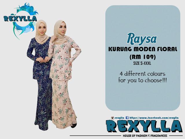 rexylla, baju kurung, kurung moden, floral, floral print, raysa collection