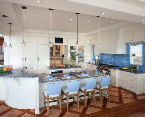 cozinha com detalhes em azul