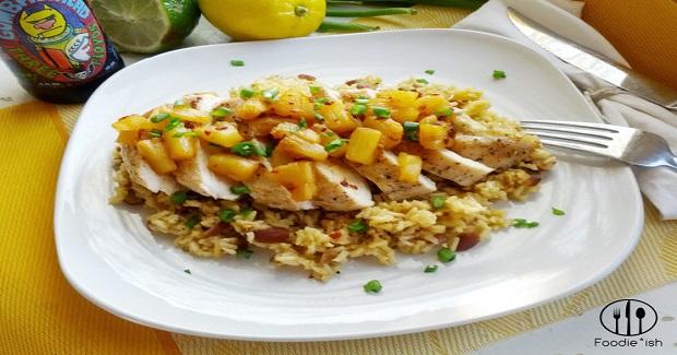 Pineapple Adobo Chicken With Orange Almond Rice Recipe