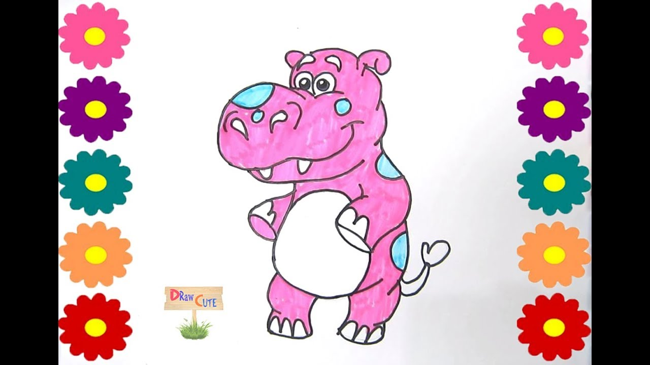 how to draw a hippo cute for kids