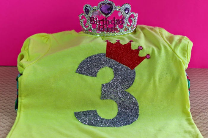 She Turns Three Birthday Shirt Tutorial + Stencil - First