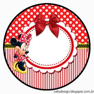 Toppers o Etiquetas de Minnie en Rayas Rojas  para Imprimir Gratis.
