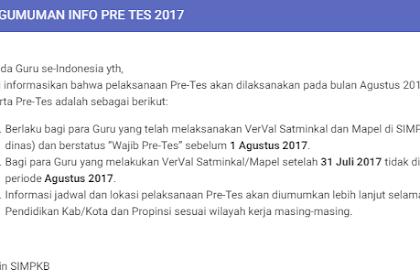 Jadwal Pelaksanaan Pre Tes SIMPKB 2017