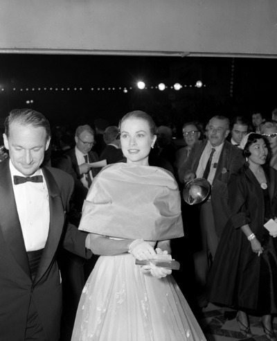 Grace Kelly Wearing Beautiful Edith Head Gown Arriving for 1956 Academy Awards