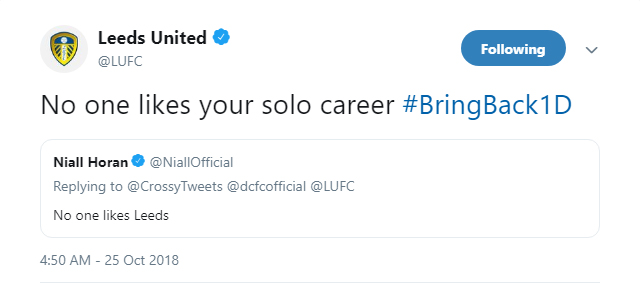 Leeds United respond to Niall Horan's tweet with a dig at the singer's solo career