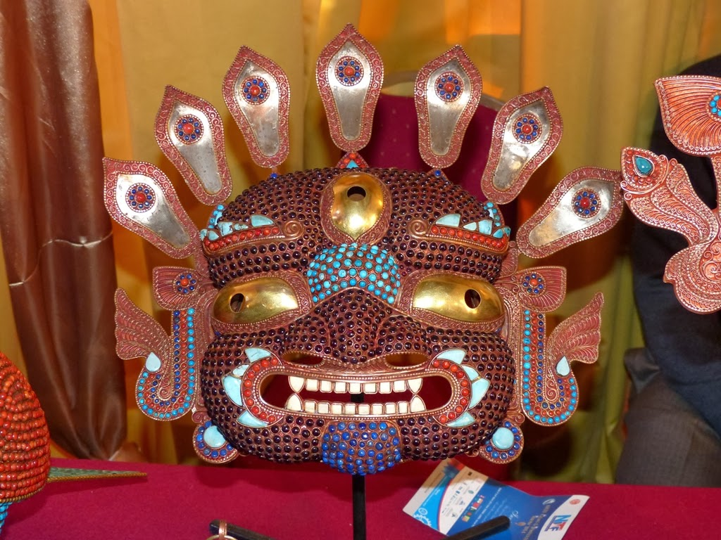 Traditional metal mask set with semi-precious stones, Nepal