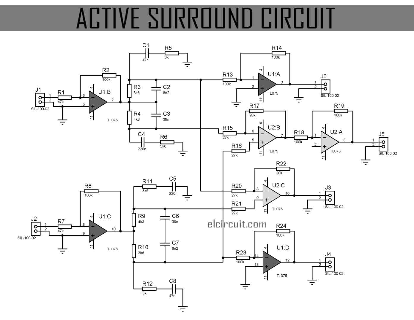 Below the Active Surround Sound circuit diagram include regulated power  supply 12V.