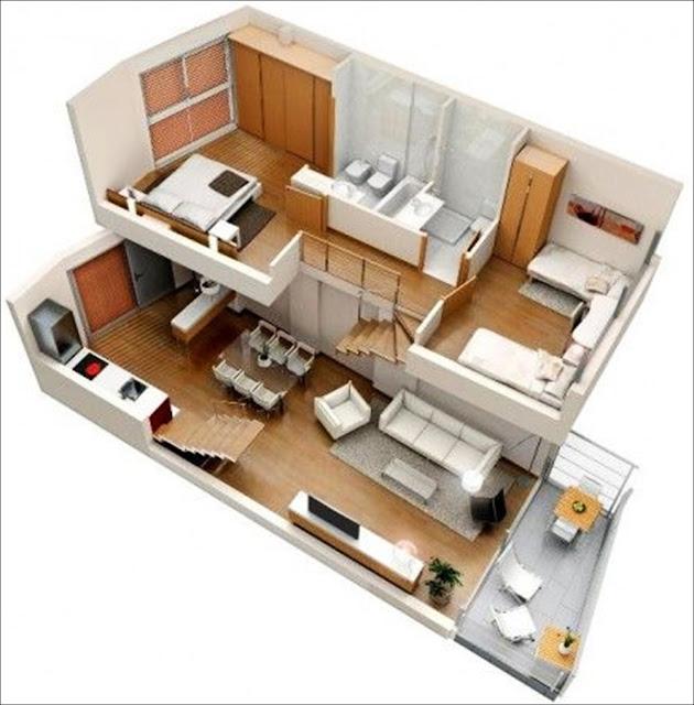 Planta de casa de 2 andares e quartos em cima