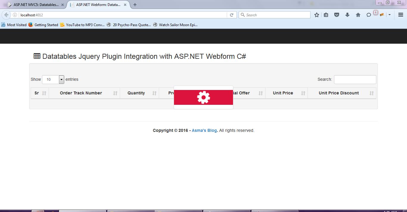 ASP NET Webform: Datatables Jquery plugin Server Side Integration