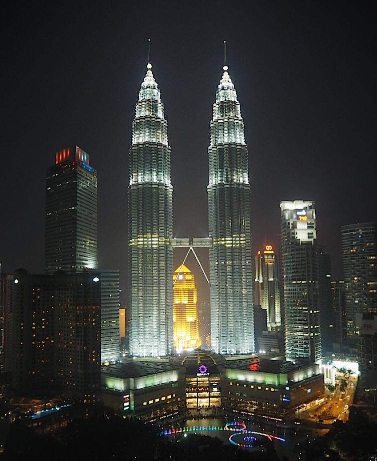 petronas towers kuala lumpur night view