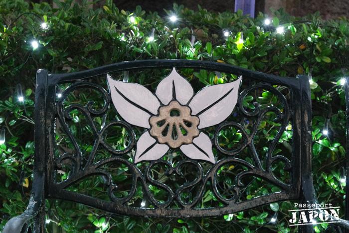 Banc à motif floral, Glover Garden, Nagasaki