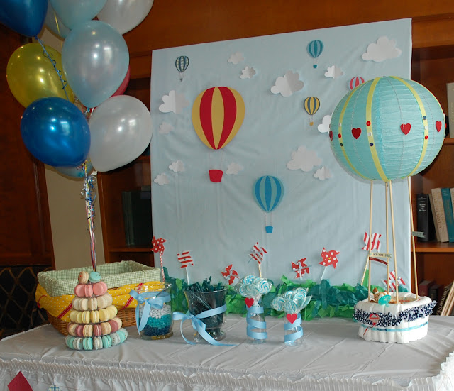 Paper Cut Out Blue Balloons First Birthday Decoration: Tangled Threads By Jen: Hot Air Balloon Baby Shower