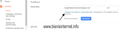 Domain dengan hosting blogger