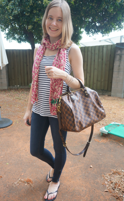 Away From Blue Autumn Scarf outfit print mixing Louis Vuitton leopard print speedy B skinny jeans