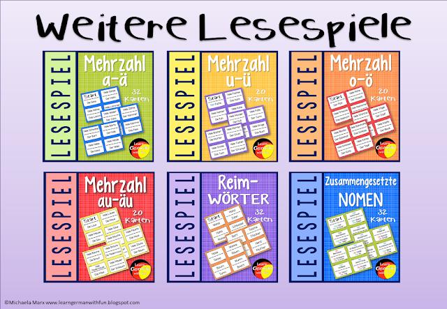 Verschiedene Lesespiele für DaF, Legasthenietraining, Grundschule uvm.