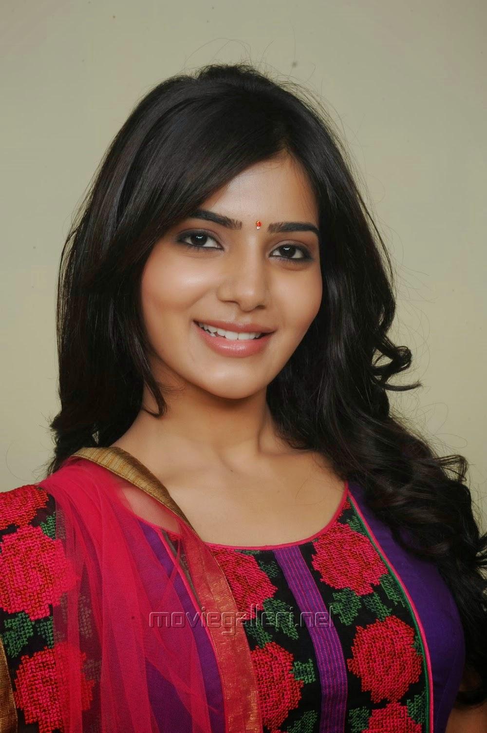 Samantha In Saree: Samantha Cute In Violet Color Cotton Salwar Kameez
