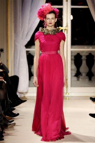 runway look: pink gown and hat by Giambattista Valli S/S 2012