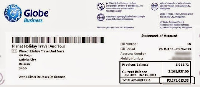 Globe issue postpaid bill 3.2 Million peso