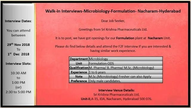 Sri Krishna Pharmaceuticals Walk-In For Freshers & Experience from 29 November to 1 December