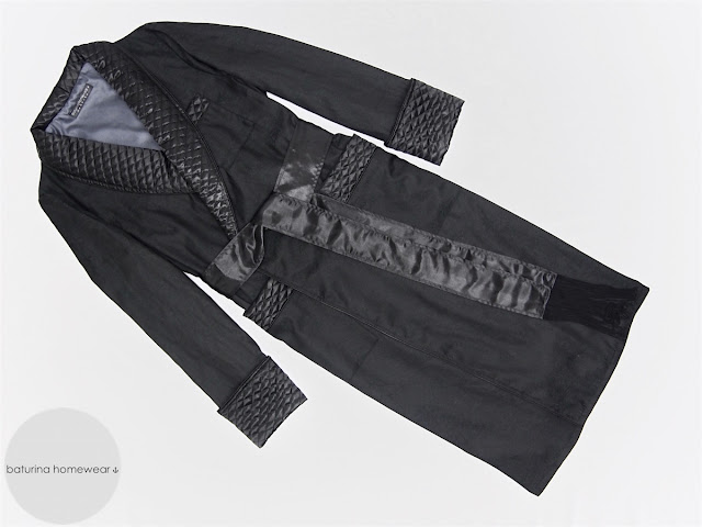 mens long quilted dressing gown black cotton silk gentleman morning robe classic english style traditional