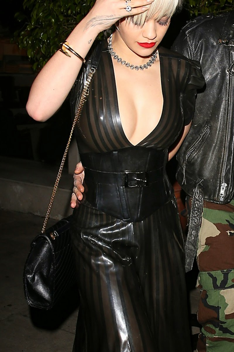 Rita Ora In A Plunging Latex Dress On Dinner Date With