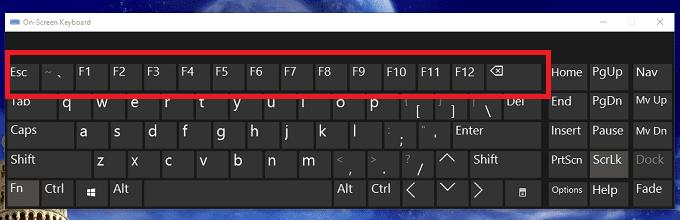 Kích hoạt hàng phím F trong bàn phím ảo