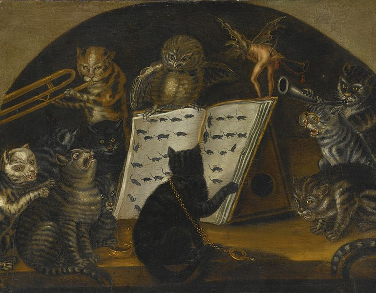 Cats being instructed in the art of mouse-catching by an owl, Oil on canvas, c. 1700, Lombard School
