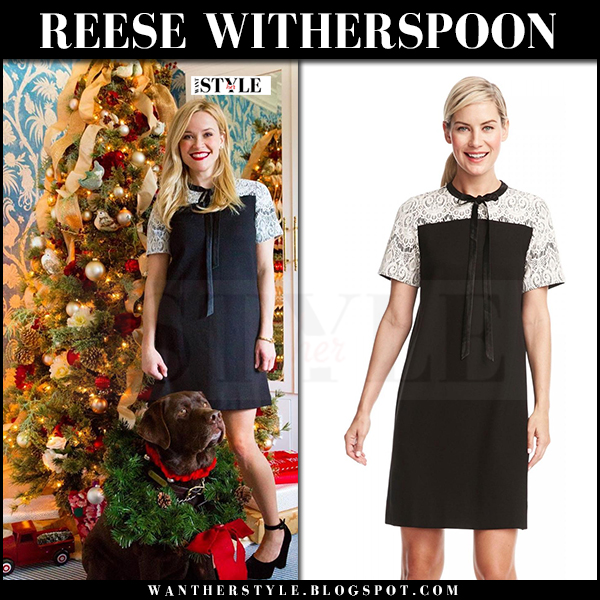 Reese Witherspoon in black shift dress draper james winston christmas tree instagram what she wore