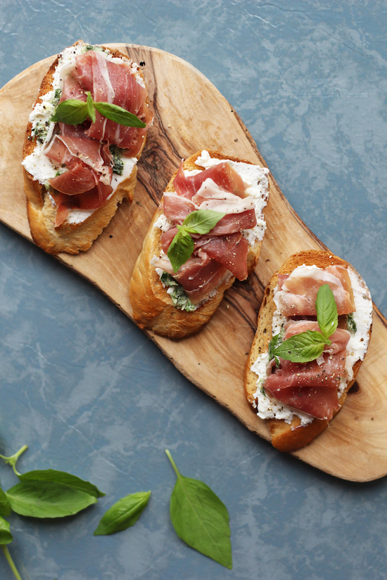 parma ham, ricotta and basil bruschetta.