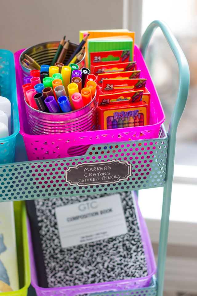 Keep your school supplies organized with a fun cart and colorful baskets!