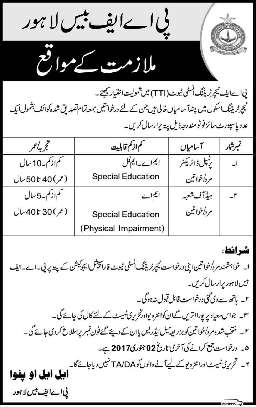 Careers in PAF Base Lahore Jobs