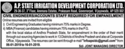 Andhra Pradesh APSIDC Civil Engineers, Accounts Staff Govt Jobs Recruitment 2019 Notification