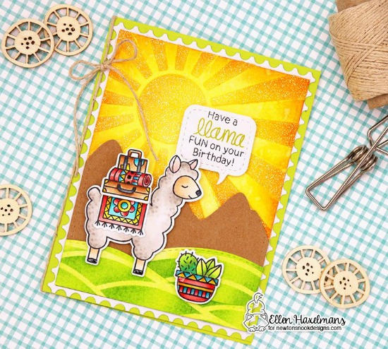 Llama Birthday Card by Ellen Haxelmans | Loveable Llamas Stamp Set and Sunscape Stencil by Newton's Nook Designs #newtonsnook #handmade #llama