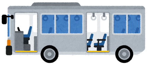 ノンステップバスのイラスト(ドアが開いた状態)