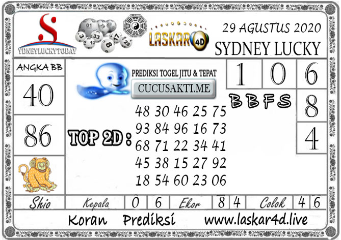 Prediksi Sydney Lucky Today LASKAR4D 29 AGUSTUS 2020