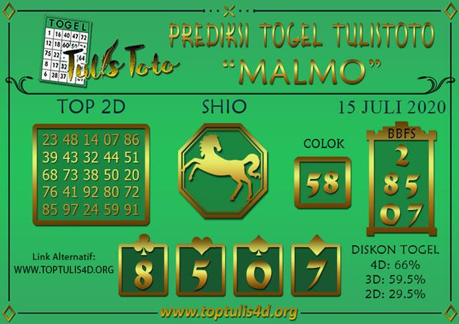 Prediksi Togel MALMO TULISTOTO 15 JULI 2020