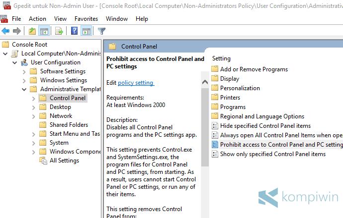 mencegah user lain mengakses control panel dan settings