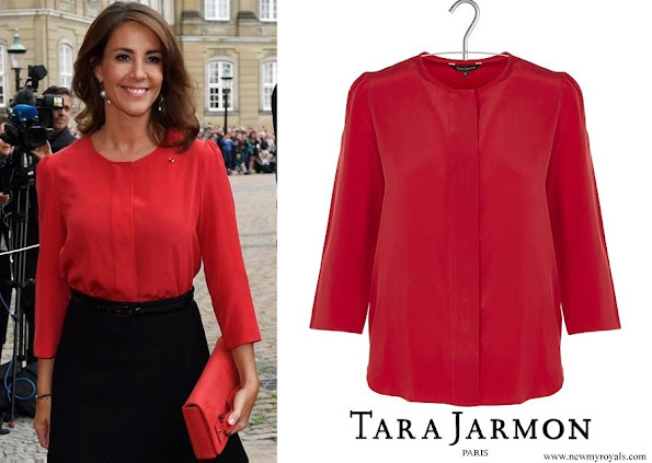 Princess Marie wore TARA JARMON Round-neck silk shirt